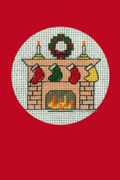 Christmas Stockings Greeting Card Red Cross Stitch Kit